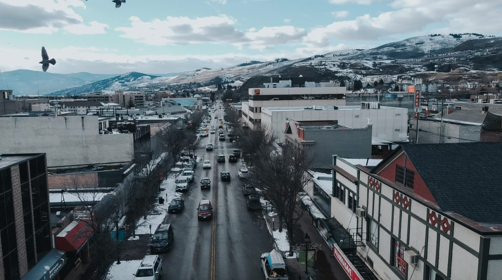 downtown vernon bc in the winter